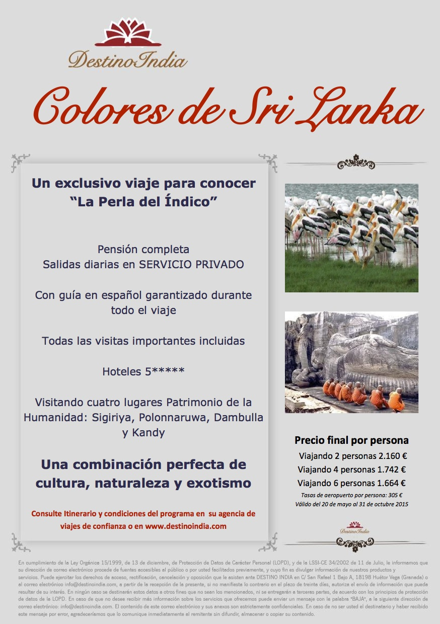BOOKING FAX Oferta COLORES DE SRI LANKA