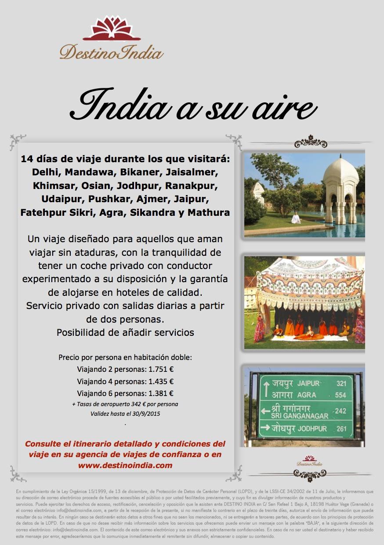 BOOKING FAX Oferta INDIA A SU AIRE