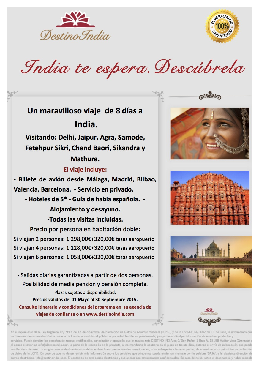 BOOKING FAX Oferta INDIA TE ESPERA. DESCUBRELA